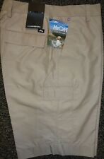 MENS J LINDEBERG LAWRENCE Regular Fit Micro Twill Flat Front Golf SHORTS, BEIGE