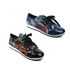 NEW WOMENS LADIES FLORAL FLAT LACE UP PUMPS TRAINERS LOAFERS SHOES SIZE 3-8