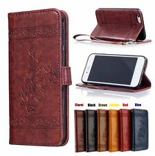 PU Leather Wallet Case Flip Cover Stand Card for iPhone Vintage oil wax pattern