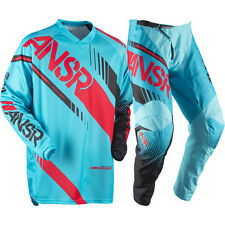 NEW 2017 ANSWER RACING SYNCRON PANT JERSEY GEAR COMBO YOUTH CYAN/RED + FREE NAME