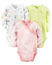 Carters Baby Girls 3 Pack Long Sleeve Side-snaps Bodysuits