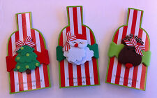 Mud Pie Holiday Felt Wine Bottle Tag- 3 Avail-Santa, Reindeer & Christmas Tree