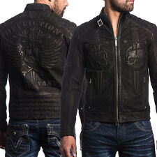 Affliction Midnight Hour Winged Skull Dagger Mens Leather Jacket Black LE $595