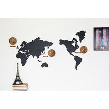 Color Wood World Time Non Ticking Silent Wall Clock Decor Map Silent Movement