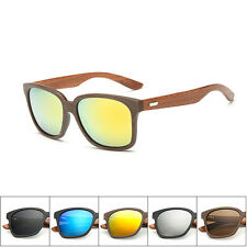 Bamboo Sunglasses Walnut Wooden Mens Womens Retro Vintage Summer Glasses