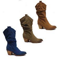WOMENS LADIES MID CALF CUBAN HEEL COWBOY STYLE BOOTS BOOTIES SHOES SIZE 3-8