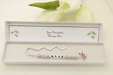 Personalised Bookmark Birthday Gift.Nanny . Any Name. Auntie. Lilac Dragonfly