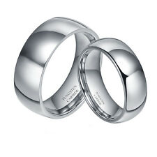 8MM Men's or 6MM Ladies Tungsten Carbide Shiny Domed Wedding Band Ring Set