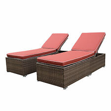 Antique 3Pcs Patio Wicker Furniture Outdoor Set Ratten Chaise Lounge Chair Set