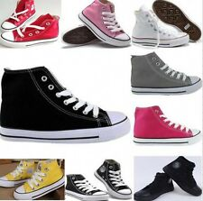 KIDS BOYS GIRLS HIGH TOP LACE UP FLAT CANVAS PUMPS TRAINERS PLIMSOLLS SHOES
