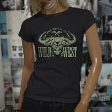 WILD WEST AT ITS BEST BULL WESTERN COUNTRY COWBOY Womens Black T-Shirt