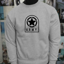 ARMY STAR PATCH NAVY ARMED FORCES MILITARY MARINE Mens Gray Sweatshirt