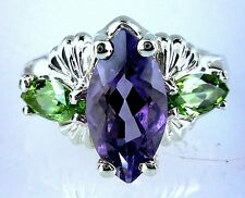 Natural Marquise Amethyst & Marquise Peridot Ring .925 SS Sterling Silver