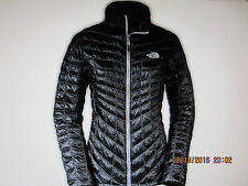 NORTHFACE NWT WOMENS M TNF BLACK Metallic Silver  Quilted THERMOBALL JACKET