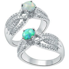 Round Green Opal  925 Sterling Silver  Wedding  Ring Inlay Size 6-9