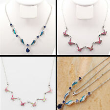 Ladies Solid 925 Sterling Silver Natural Opal Shiny Tanzanite Necklace 21