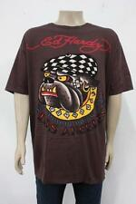 Ed Hardy Christian Audigier PLUS T-SHIRTS Brown BULLDOG LOS ANGELES XXXXL