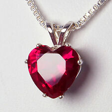 2.1 Ct Created Red Ruby Heart Pendant Necklace 925 Sterling Silver Chain