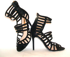 BNWOB SIZE 6 7 8 BLACK HIGH HEEL SEXY CAGED ANKLE CUFF STRAP SHOES SANDALS