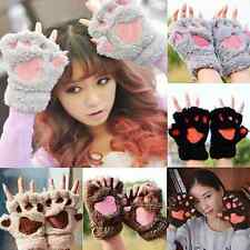 Cute Hand Warmer Mitten Fuzzy Half Finger Gloves Thick Bear's Paw Furry Mitts