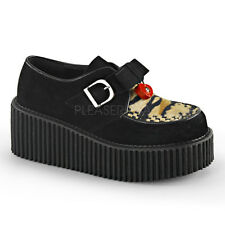 Demonia Creepers 213 Ladies Goth Punk Rockabilly Creeper Black Suede Buckle Shoe