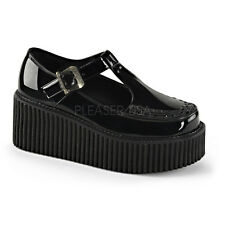 Demonia Creepers 214 Ladies Goth Punk Rockabilly Creeper Black Patent T Shoes