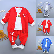 3pcs Toddler Baby Boys Shirt Tops + Pants + Coat Clothes Outfits Sport Style Set