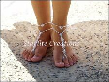 Beach Bridal Clear AB or ABx2 CRYSTAL Barefoot Sandals with Anklets 1 pair