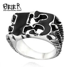 Men's Biker Black Claw 13 316L Stainless Steel Ring Outlaw Punk Ring Size 7-13