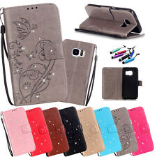 2017 Card Holder Leather Flip Wallet Case Cover Stand Floral For Samsung Galaxy