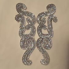 Silver Sequin Neckline Corsage Patch Beaded Neck Snake Collar Eve Dress Applique