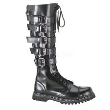 DEMONIA Gravel 20 Unisex Biker Goth Punk Leather Black Boots 5 Buckle Lace Up