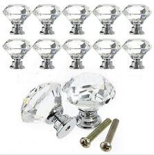 30mm Round Diamond Clear Crystal Glass Door Pull Drawer Knob Handle Cabinet OB