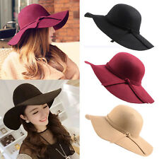 Fashion Vintage Women Lady Floppy Wide Brim Wool Felt Fedora Cloche Hat Cap lot
