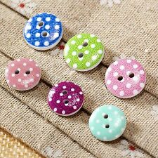 50Pcs Round 13/15mm 2 Holes Wooden Dot Buttons Sewing Scrapbooking DIY Craft