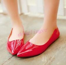 Hot Womens Sexy  Flats Pointy toe Patrnt Leather Caual Pumps Candy Colors Shoes