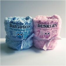 PERSONALISED BABY BLANKET EMBROIDERED NEWBORN GIFT NAME/DATE & WEIGHT CUTE OWL!