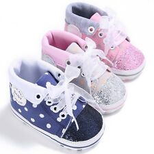Baby Boys Girls Toddler Canvas Non-slip Soft Sole Crib Shoes Sneakers 0-18Months