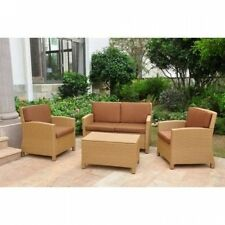 Valencia All-Weather Wicker Outdoor Patio Settee Conversation Set with Cushions