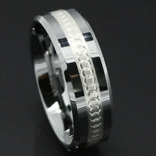 8mm silver Tungsten Carbide Ring Sterling silver ATOP Wedding Band Mens jewelry