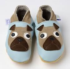 Daisy Roots - Pug Dogs on Pale Blue – Soft Soled Leather Baby Shoes