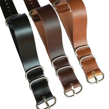 18mm 20mm 22mm Ring Buckle Black Brown Faux Leather Watch Strap Band Watchband