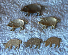 LOT OF 6 COLLECTOR PIGS BRASS PIN DISH AND HANG UP PIGS