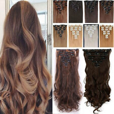 Trend 8PCS Full Head Clip in Hair Extensions Black Blonde Red 180G Thick Hair US