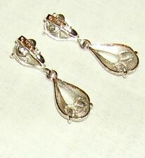 VINTAGE TRIFARI, SILVER-TONE PENDANT EARRINGS, WITH SNAP-CLIP ON BACK.