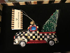 Mackenzie Childs COURTLY CHECK TRUCK Christmas Tree Ornament  Glass - NEW / BOX!