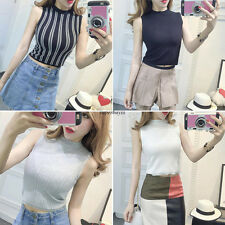 Women Sexy Stretch Knit Tank Cropped Top Vest Vertical Striped Casual Short Tops