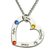 Personalized Heart Birthstone Name Necklace Family in Your Heart Gift for Mom