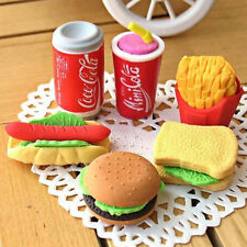 6x Novelty Cute Food Rubber Pencil Eraser Set Stationery Children Toy Gift gg