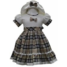BABY GIRLS BEAUTIFUL TARTAN PRINTED PARTY DRESS WITH HAT  0 TO 24 MONTHS